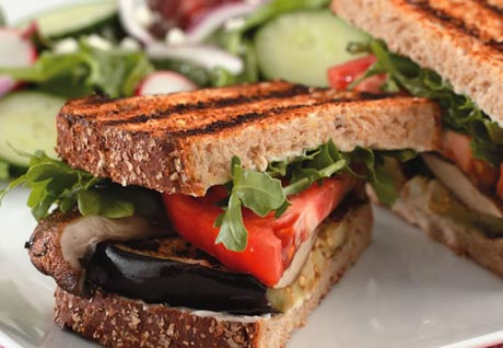 Grilled Eggplant & Portobello Sandwich Recipe