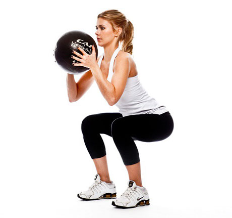 Medicine Ball Squat Thrusters