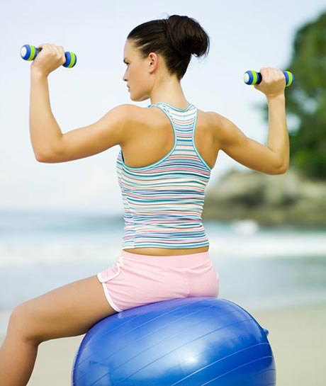 Shoulder Press on a Stability Ball
