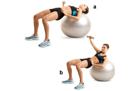 Single Arm Chest Press on Stability Ball