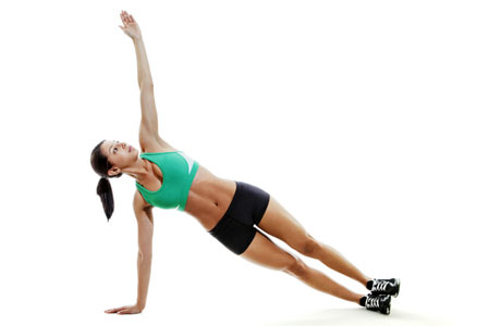 Straight arm plank with rotation