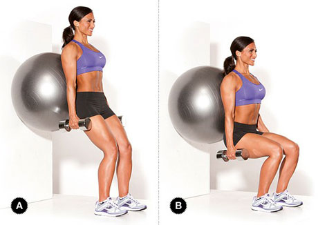 Wall Squats with a Stability Ball
